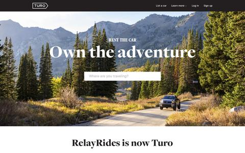 Screenshot of Home Page turo.com - Find a rental car or make money renting your car � Turo - captured Nov. 4, 2015