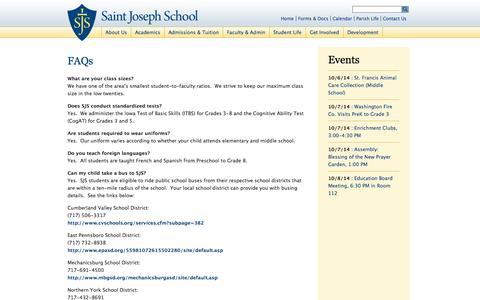 Screenshot of FAQ Page sjsmch.org - Saint Joseph School » FAQs - captured Oct. 6, 2014