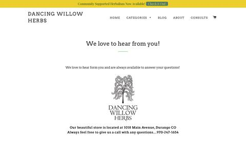 Screenshot of Contact Page dancingwillowherbs.com - We love to hear from you! – Dancing Willow Herbs - captured June 3, 2017