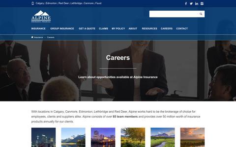 Screenshot of Jobs Page alpineinsurance.ca - Careers - Alpine Insurance - captured Oct. 8, 2017