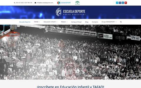 Screenshot of Home Page escueladeporte.com - Escuela Deporte - TAFAD - Educación Infantil - Máster - captured Jan. 30, 2016