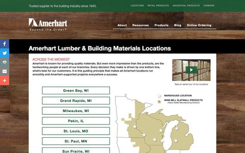 Screenshot of Locations Page amerhart.com - Lumber & Building Materials Locations - captured Sept. 25, 2018