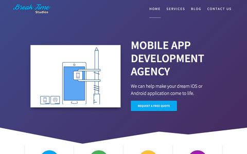 Screenshot of Home Page breaktimestudios.com - Mobile App Development Agency   Break Time Studios - captured July 13, 2018