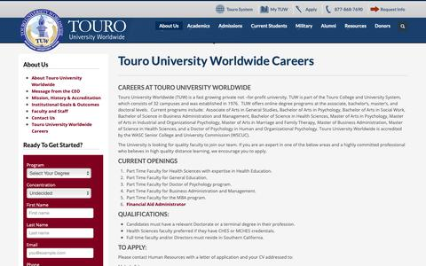 Screenshot of Jobs Page tuw.edu - Touro University Worldwide Careers | TUW - captured Nov. 18, 2018