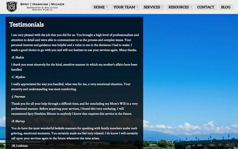 Screenshot of Testimonials Page willpowerlaw.com - Testimonials | Spry Hawkins Micner - captured Oct. 6, 2014
