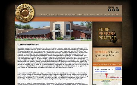 Screenshot of Testimonials Page centennialgunclub.com - Customer Testimonials - captured Sept. 29, 2014