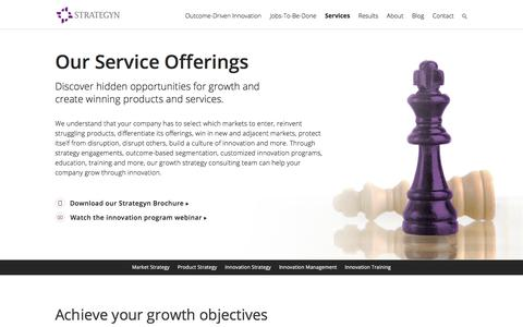 Screenshot of Services Page strategyn.com - Growth Strategy Consulting Firm | Services | Strategyn - captured June 18, 2017