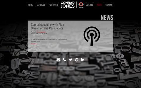 Screenshot of Press Page conradjones.com - NEWS   Conrad Jones - captured Oct. 28, 2014