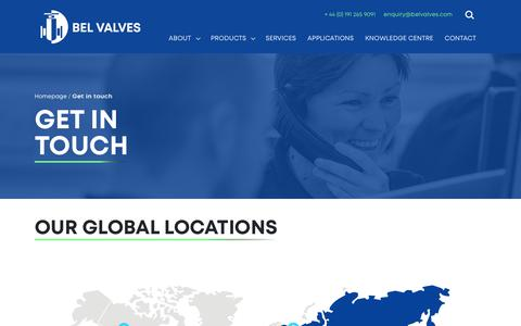Screenshot of Contact Page belvalves.com - BEL Valves - captured Nov. 13, 2018