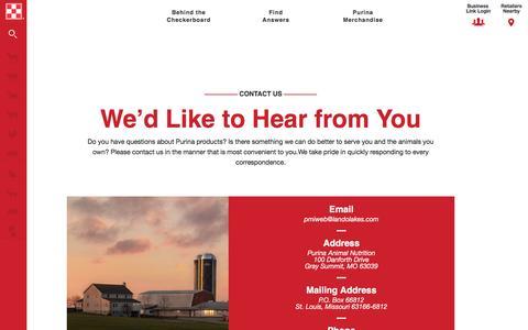 Screenshot of Contact Page purinamills.com - Contact Us   Purina Animal Nutrition LLC - captured Nov. 15, 2016