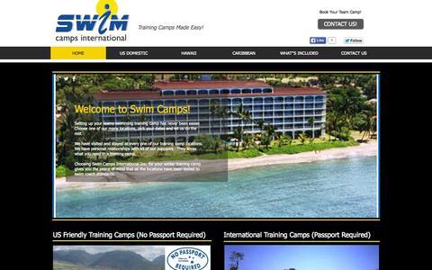 Screenshot of Home Page swim-camps.com - Swimming Training Camps Made Easy... - captured Sept. 2, 2015