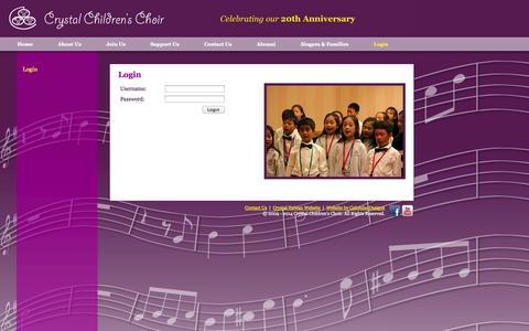 Screenshot of Login Page crystalchoir.org - Crystal Children's Choir - Login - captured Oct. 3, 2014