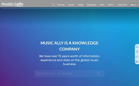 Screenshot of Home Page musically.com - Music Ally Is A Knowledge Company - captured July 25, 2018