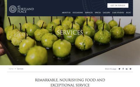 Screenshot of Services Page 41portlandplace.com - Services - 41 Portland Place - captured June 18, 2017