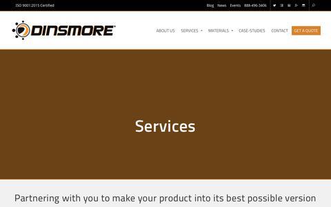 Screenshot of Services Page dinsmoreinc.com - Services | Dinsmore Inc. - captured Nov. 15, 2018