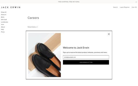 Screenshot of Jobs Page jackerwin.com - Careers – Jack Erwin - captured Feb. 11, 2019