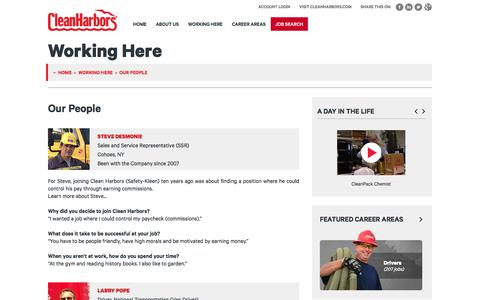 Screenshot of Jobs Page cleanharbors.com - Our People | Working Here | Careers at Clean Harbors - captured April 27, 2017