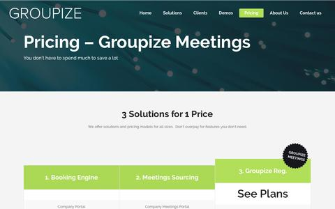 Screenshot of Pricing Page groupize.com - Pricing – Groupize Meetings – Groupize - captured Dec. 28, 2016