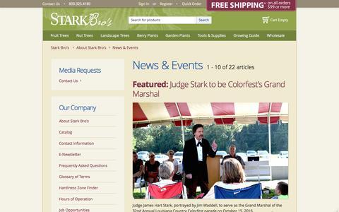 Screenshot of Press Page starkbros.com - News & Events - Stark Bro's - captured Nov. 27, 2016