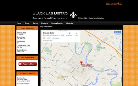 Screenshot of Maps & Directions Page blacklabbistro.net - Map and Directions - captured June 17, 2016