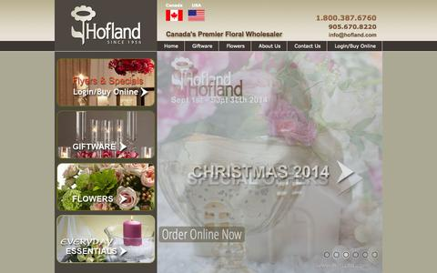Screenshot of Home Page hofland.com - Wholesale Florist, Giftware, Floral Supplies   Hofland - captured Oct. 1, 2014