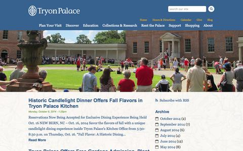 Screenshot of Press Page tryonpalace.org - Press Releases | Tryon Palace - captured Oct. 9, 2014