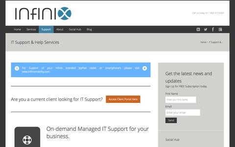 Screenshot of Support Page infinix.com - IT Support & Help Services - Bay Area, Californoa - captured Oct. 3, 2014