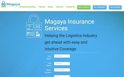 Screenshot of Home Page magayainsurance.com - Ocean and Air Cargo Insurance Services, Marine and Inland Quote Cargo Insurance - captured Nov. 19, 2016