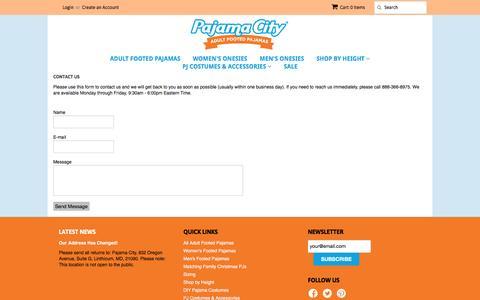 Screenshot of Contact Page pajamacity.com - Pajama City - captured Oct. 18, 2016