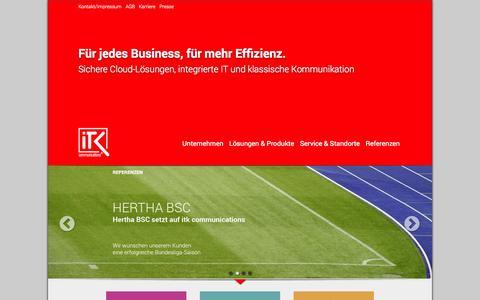 Screenshot of Home Page itk-communications.de - ITK communications GmbH - IT- und TK-Lösungen für Unternehmen - Telefonanlagen, flexibel und günstig - Home - captured Oct. 6, 2014