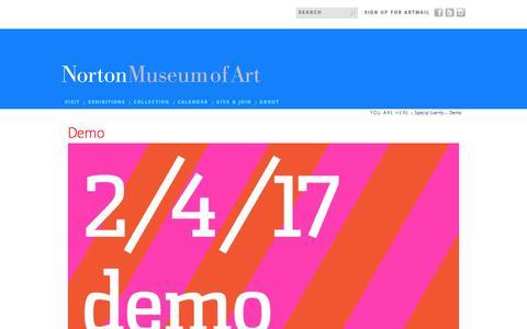 Screenshot of Demo Page norton.org - Norton Museum of Art | Demo - captured Oct. 27, 2017