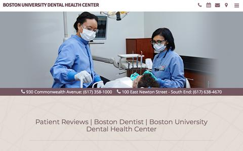 Screenshot of Testimonials Page budentalcenter.com - Patient Reviews | Boston Dentist | Boston University Dental Health Center - captured July 8, 2018