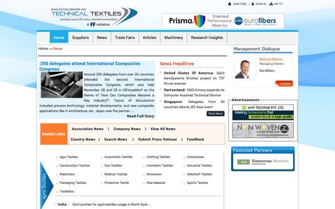 Screenshot of Press Page technicaltextile.net - News: Technical Textiles News,Updates,Headlines from Industrial Textiles News - captured Dec. 10, 2016