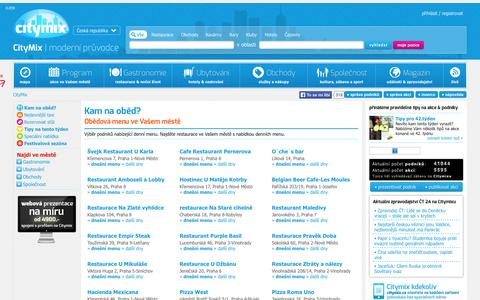 Screenshot of Menu Page citymix.cz - Obědová menu, kam na oběd | Citymix - captured Oct. 28, 2014
