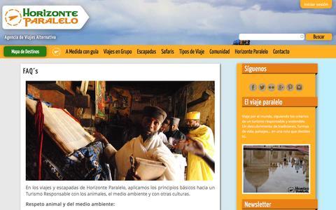 Screenshot of FAQ Page horizonteparalelo.com - FAQ´s   Agencia de viajes Horizonte Paralelo - captured May 21, 2017