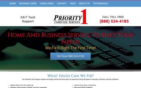 Screenshot of Services Page priority1computers.com - Computer Repair | PC Repair |Tech Support Priority 1 Computer Services - captured March 12, 2016