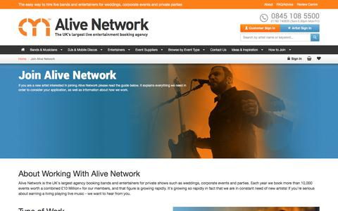 Screenshot of Signup Page alivenetwork.com - Join Alive Network | Get Well-Paid Work Performing At Private Events - captured June 24, 2017
