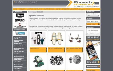 Screenshot of Products Page phoenixhydraulics.co.uk - Hydraulic Products - Phoenix Hydraulics - captured Oct. 2, 2014