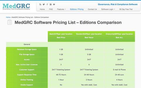 Screenshot of Pricing Page medgrc.com - MedGRC Software Pricing List – Editions Comparison   MedGRC Inc - captured Sept. 16, 2014