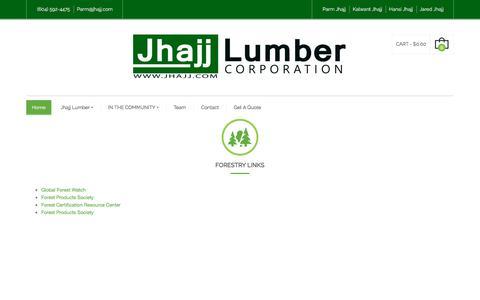 Screenshot of Home Page jhajj.com - Jhajj Lumber Corporation | Jhajj Lumber - Canadian Softwood Lumber Wholesale - captured Sept. 8, 2019