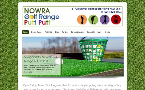 Screenshot of Home Page nowragolfrangeandputtputt.com - Nowra Golf Range and Putt Putt | Birthday party, family get together, BBQ, kid play gym available - captured July 3, 2015