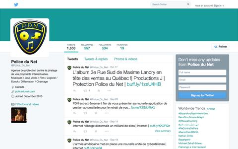 Screenshot of Twitter Page twitter.com - Police du Net (@Police_Du_Net) | Twitter - captured Oct. 22, 2014