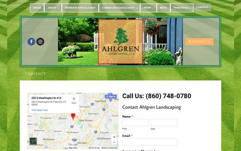 Screenshot of Contact Page ahlgrenlandscaping.com - Contact | Ahlgren Landscaping - New Britain ,CT - captured July 29, 2018