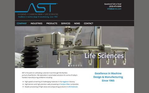 Screenshot of Home Page ast-inc.com - AST | Excellence in Machine Design and Manufacturing since 1965 - captured Jan. 23, 2015