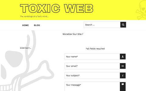 Screenshot of Contact Page toxic-web.co.uk - Toxic Web - Contact - captured Jan. 27, 2018
