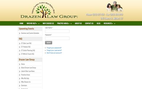Screenshot of Login Page drazenlaw.com - Log In - captured Feb. 9, 2016