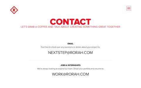 Screenshot of Contact Page rorah.com - Contact | Rorah - captured April 24, 2016