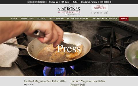 Screenshot of Press Page carbonesct.com - Press | Carbone's Ristorante - captured Nov. 1, 2014