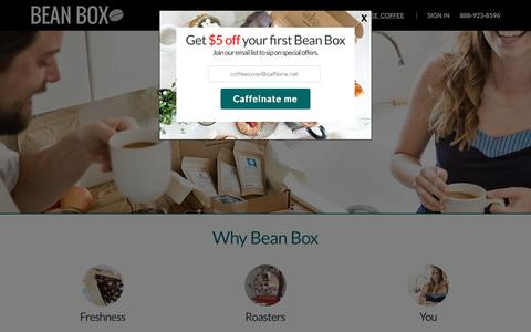 Screenshot of Home Page beanbox.co - Coffee Subscriptions and Gifts from Seattle | Bean Box - captured Sept. 18, 2015