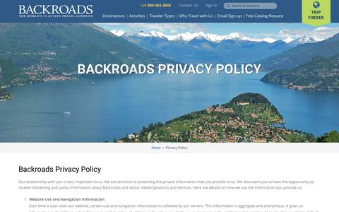 Screenshot of Privacy Page backroads.com - Backroads Privacy Policy - captured Dec. 29, 2015